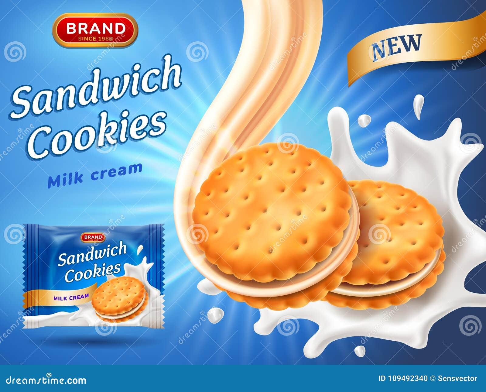 Annonces de biscuits de sandwich Écoulement délicieux de crème de vanille Baisse de biscuit dans l éclaboussure de lait Calibre d