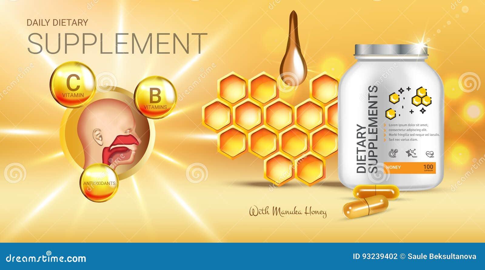 Annonces de supplément diététique de miel de Manuka Illustration de vecteur avec le supplément de miel contenu dans des éléments