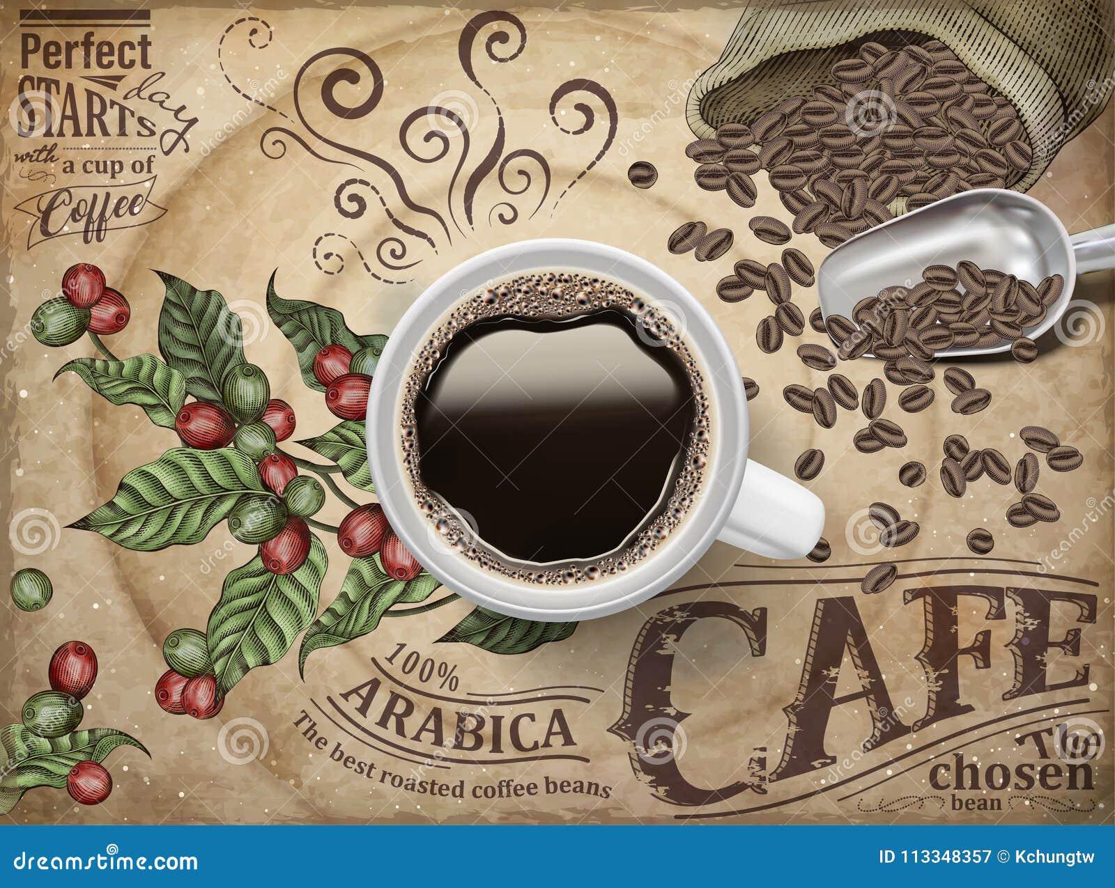 Annonser för svart kaffe