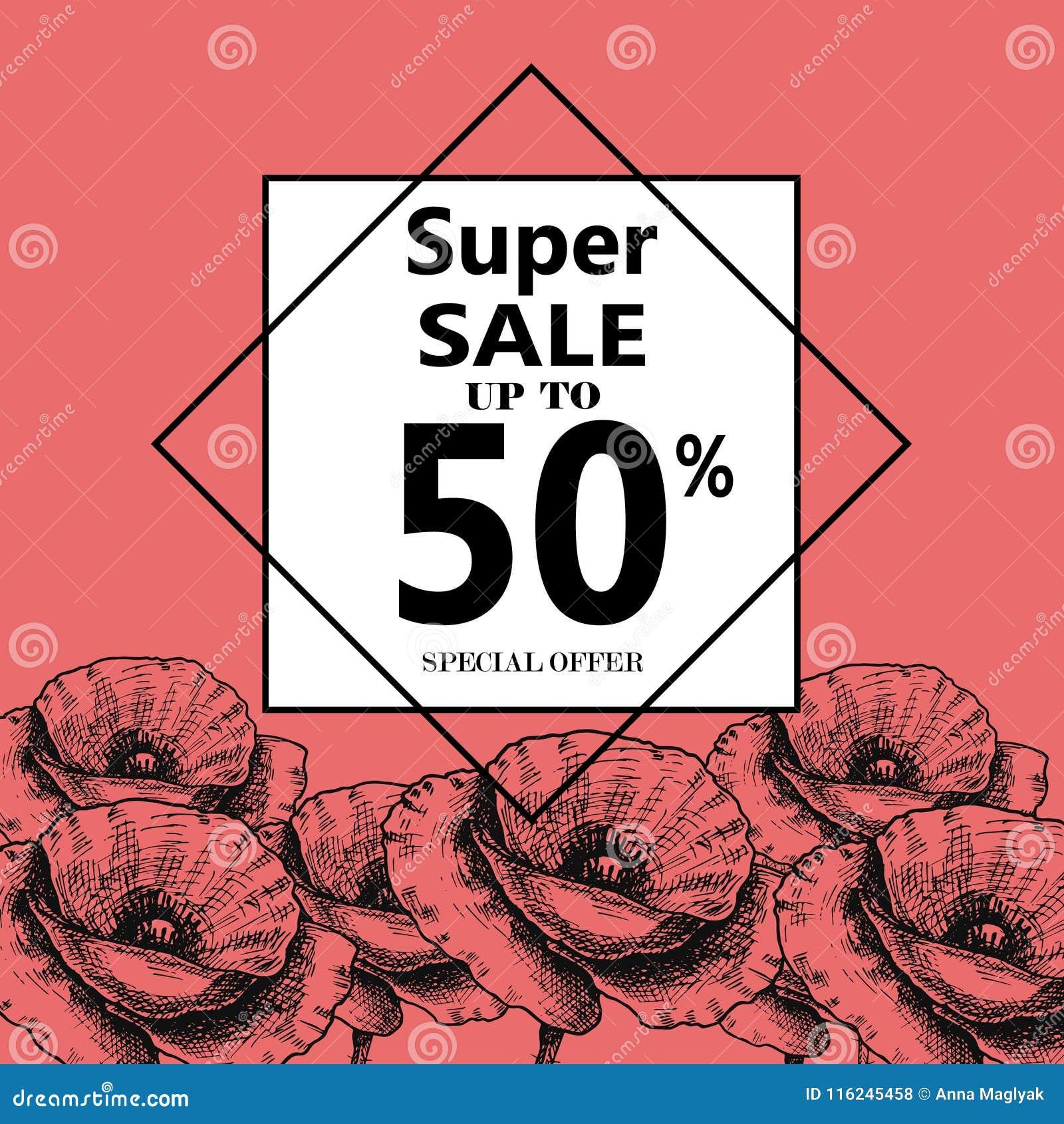 Annonsering om sommarförsäljningen på bakgrund med härliga Poppy Flowers, bokstäver, kalligrafi En säsongsbetonad rabatt