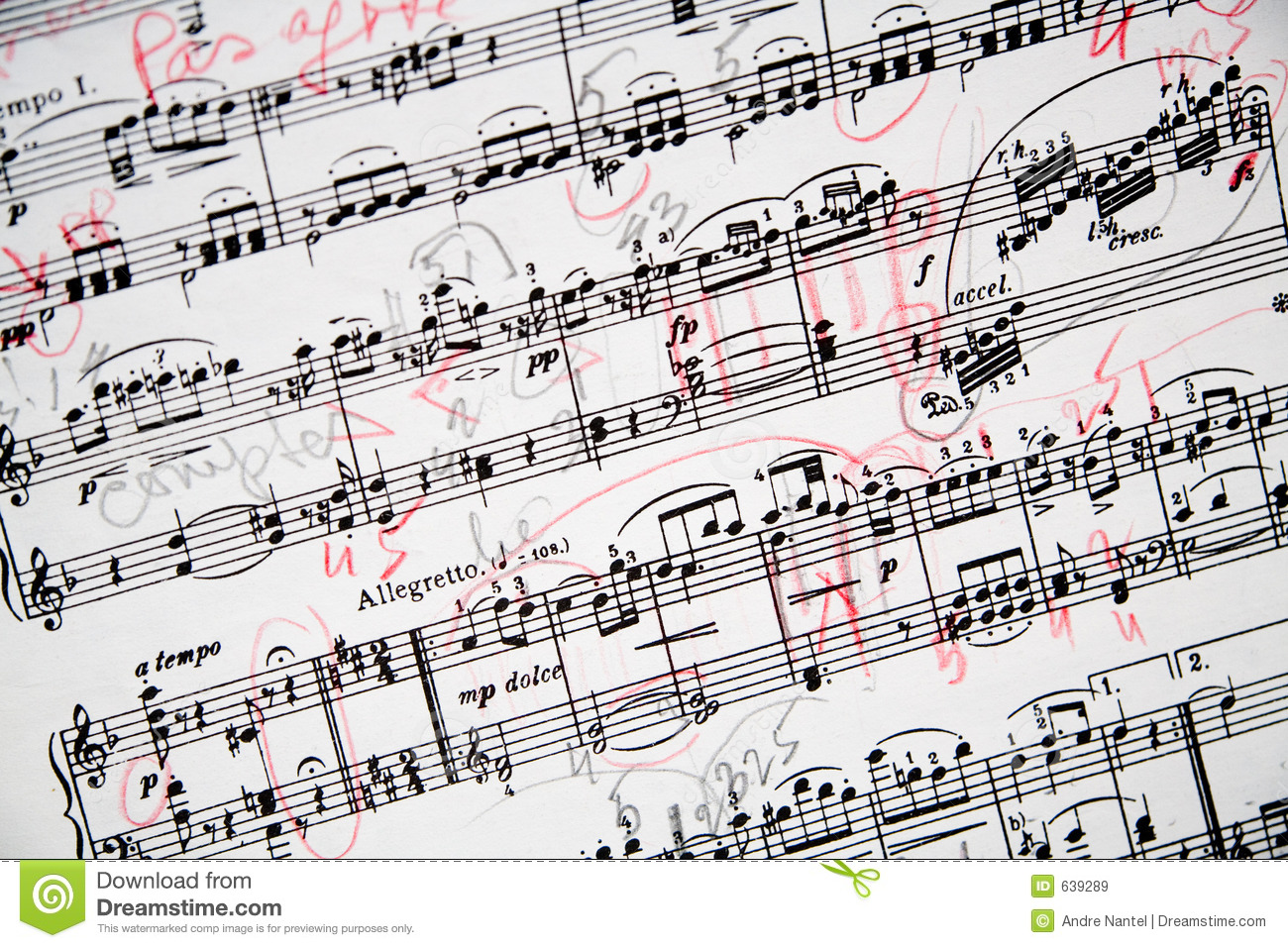 Annotated Musical Sheet Stock Image Image Of Mozart Notes