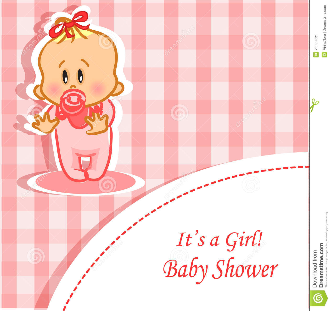 Baby Gift Vector : Announcement card with baby girl vector stock