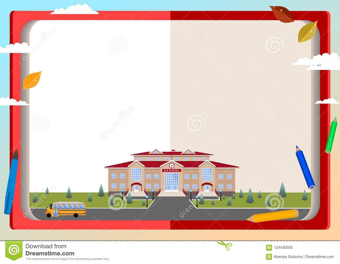 background of books and school building stock vector illustration
