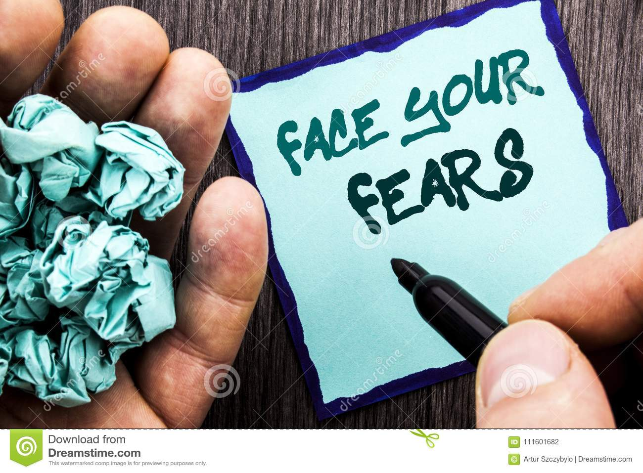 Announcement text showing Face Your Fears. Business concept for Challenge Fear Fourage Confidence Brave Bravery written on Noteboo