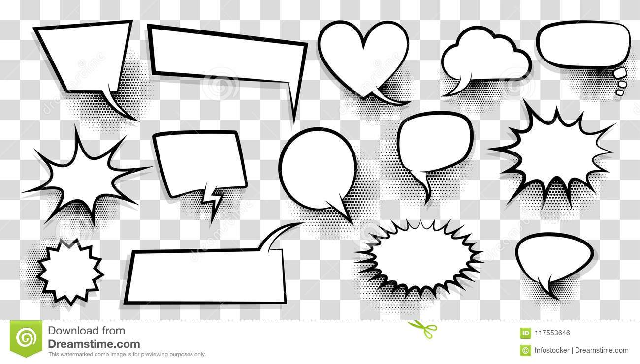 big set empty speech bubble comic text stock vector illustration