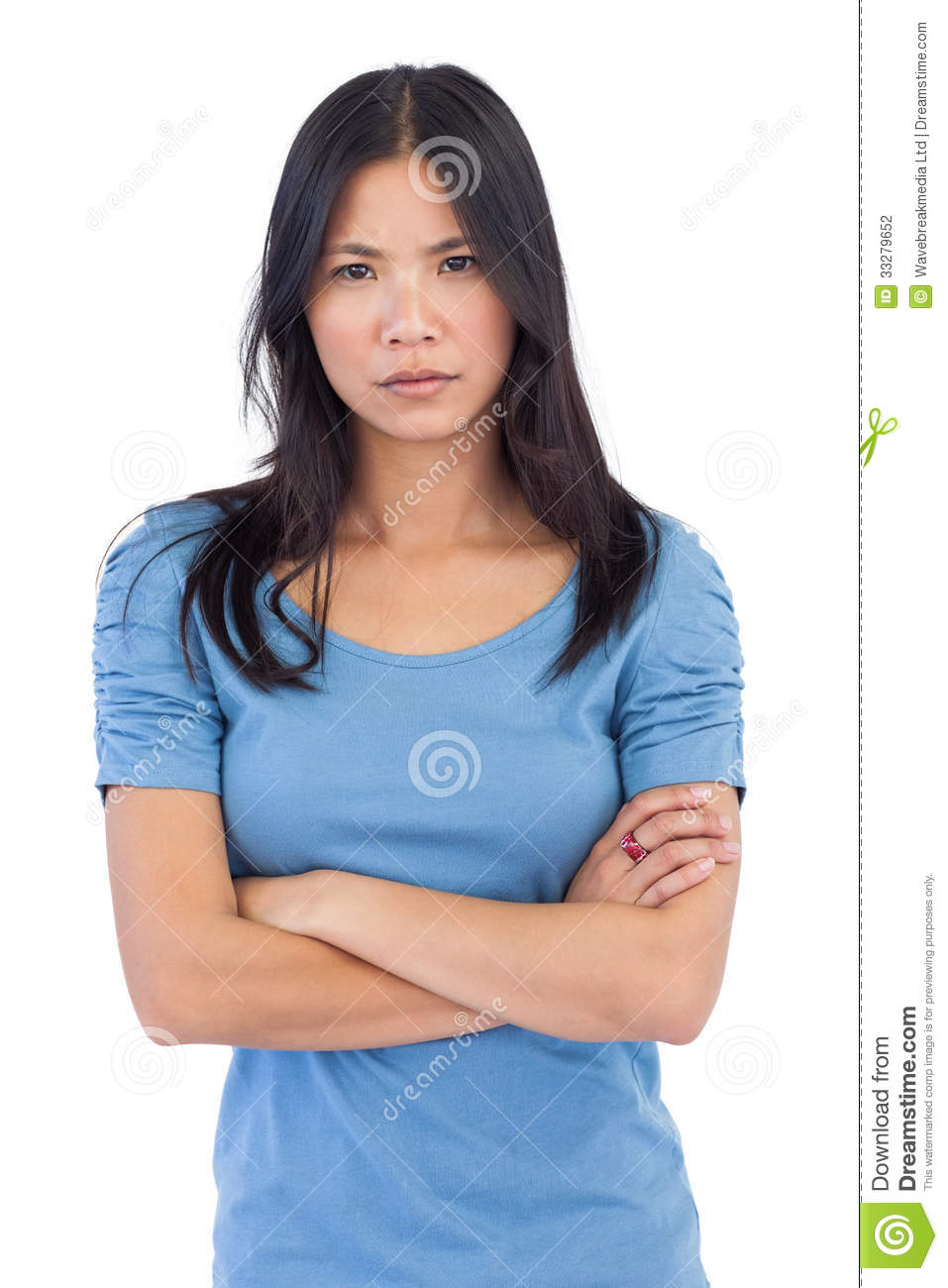 Annoyed asian woman with arms crossed