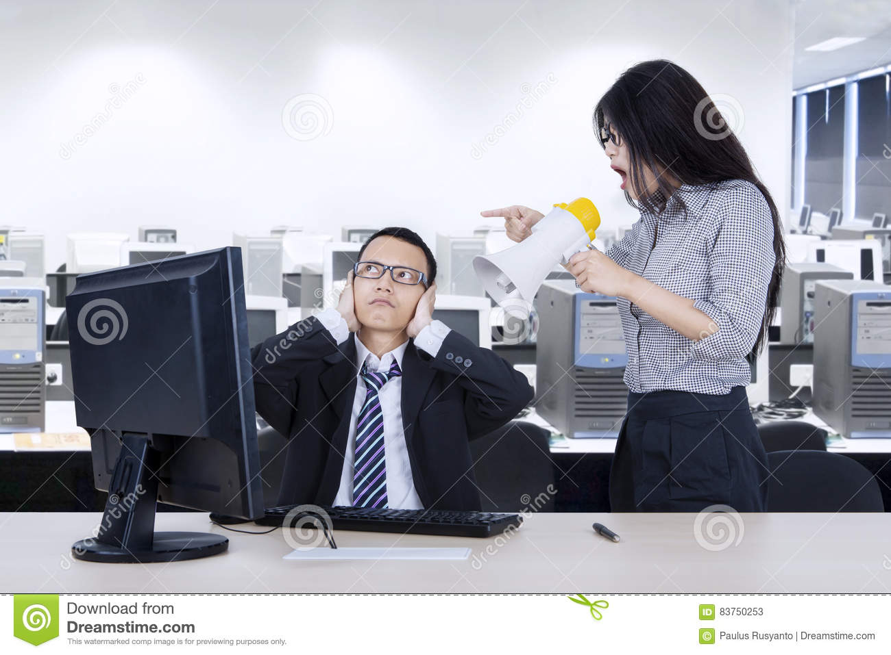 Annoyed Employee With Her Manager In The Workplace Stock ...