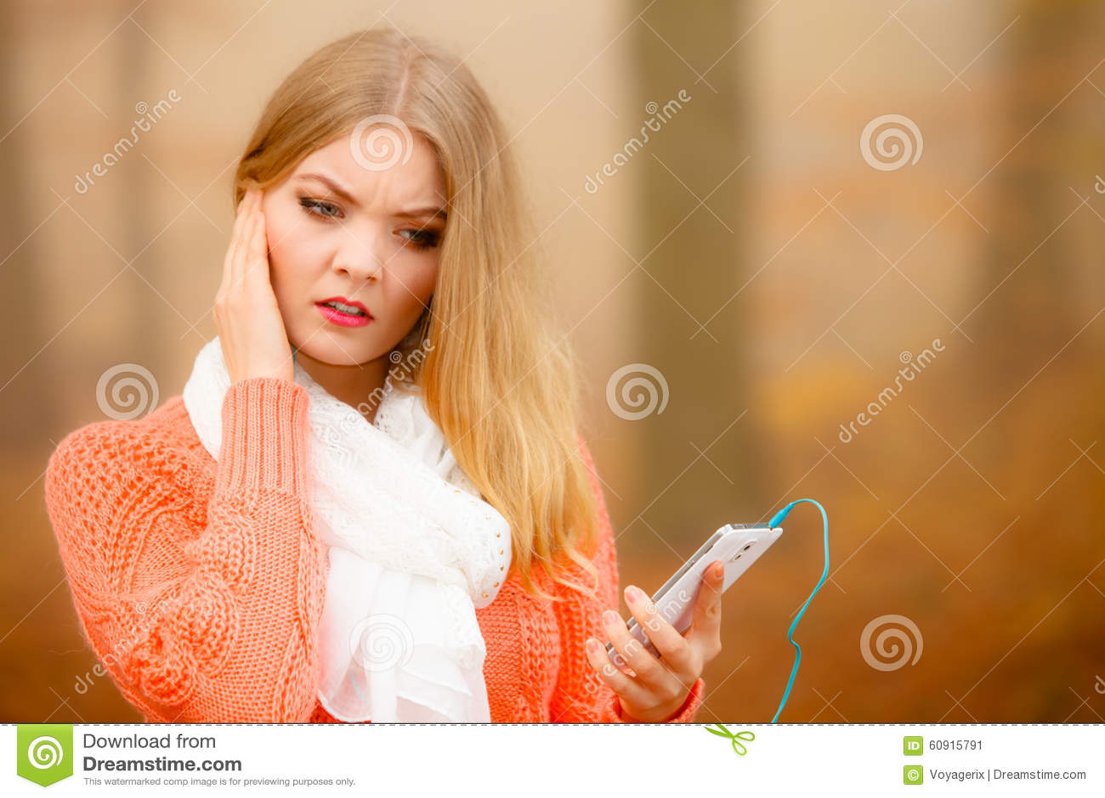 Annoyed Girl Listening Music Mp3 Stock Image - Image of