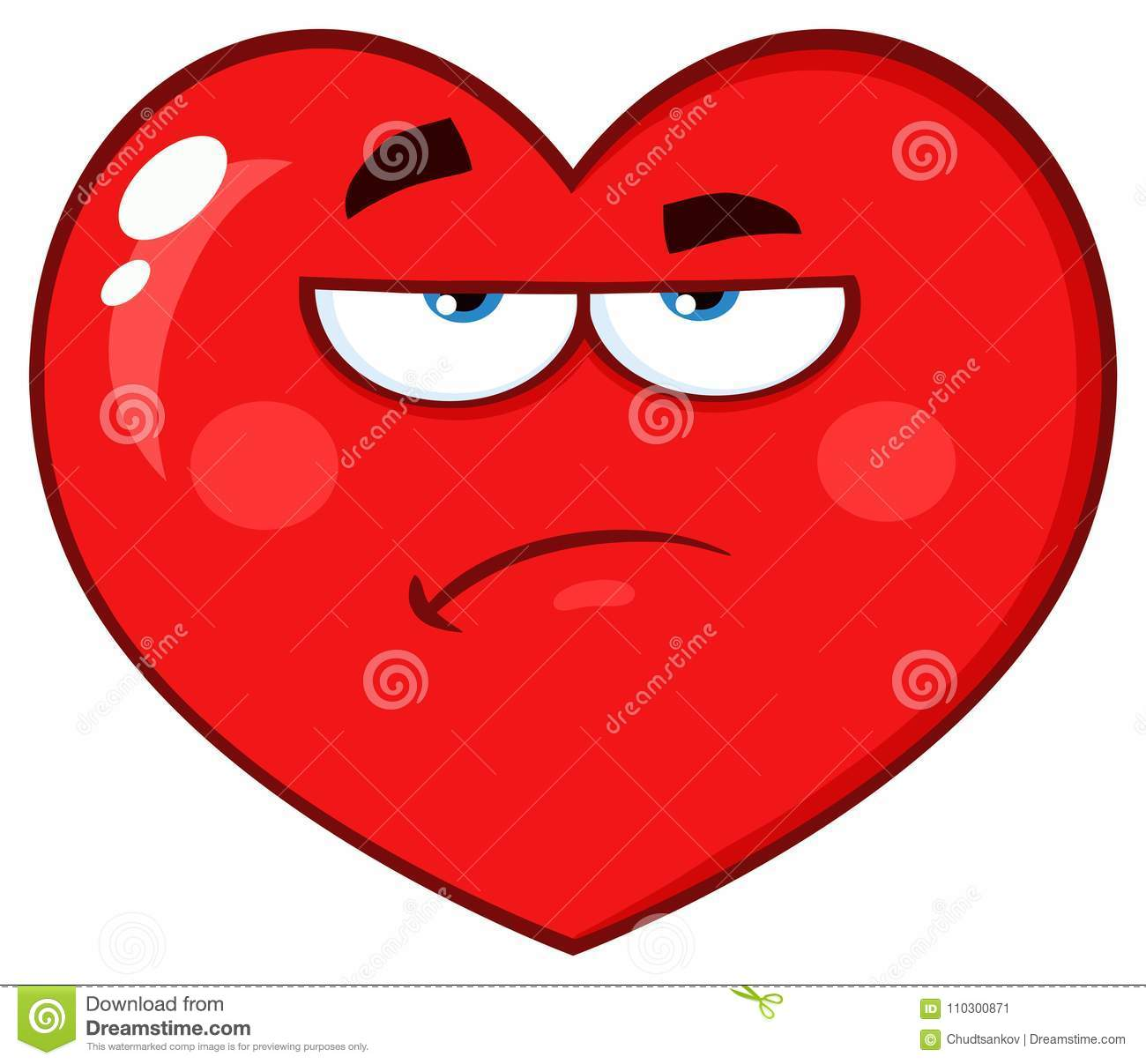 Annoyed Red Heart Cartoon Emoji Face Character With Grumpy