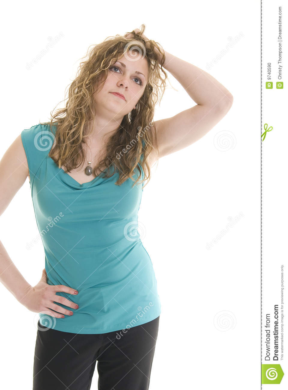 Annoyed caucasian woman with one hand in her hair