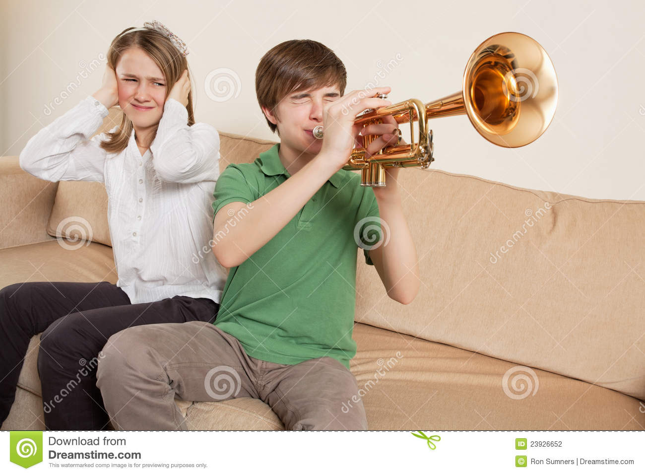 Annoying Trumpet Player Stock Photo Image Of Annoying