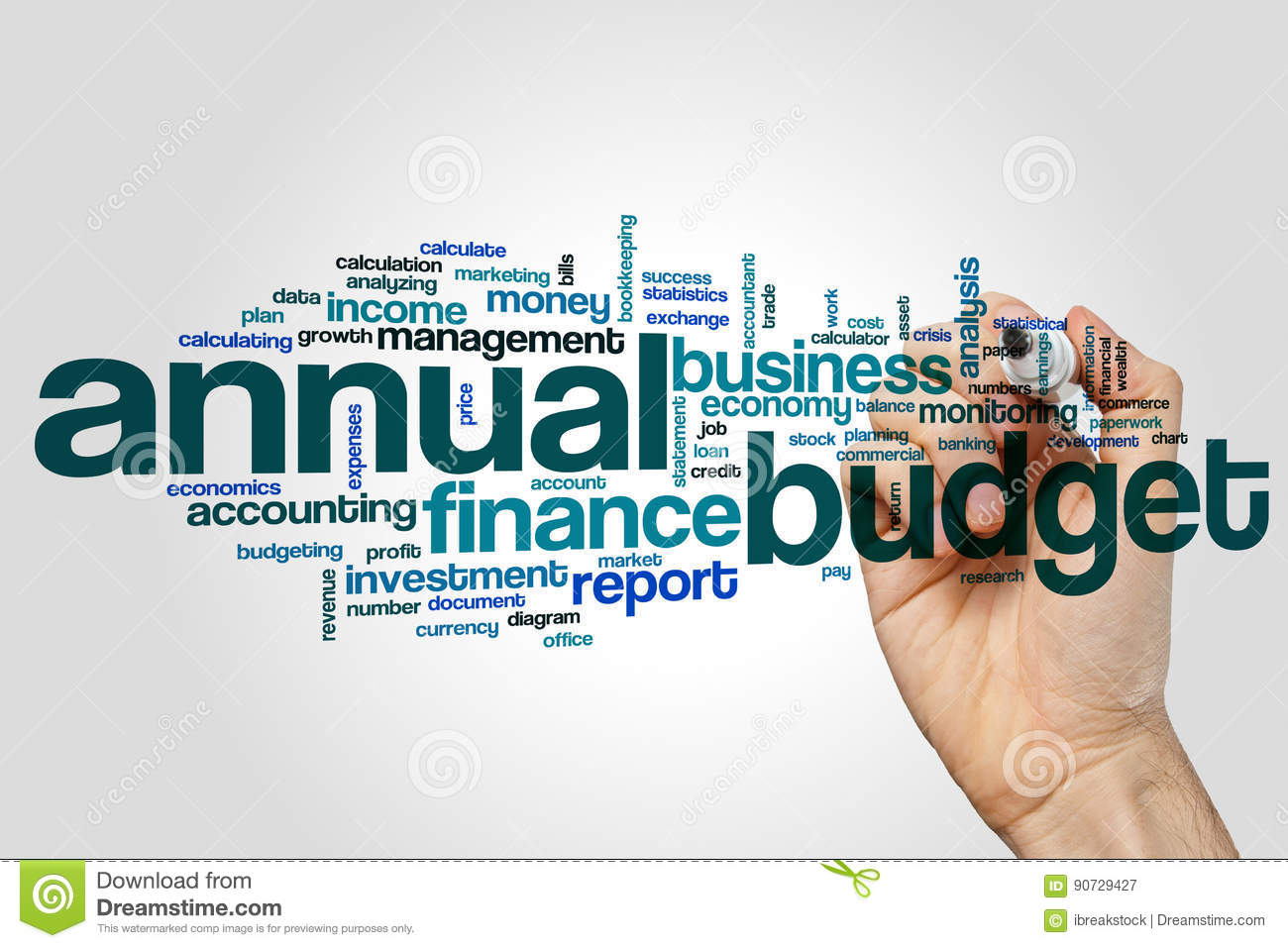 annual budget word cloud concept on grey background stock image