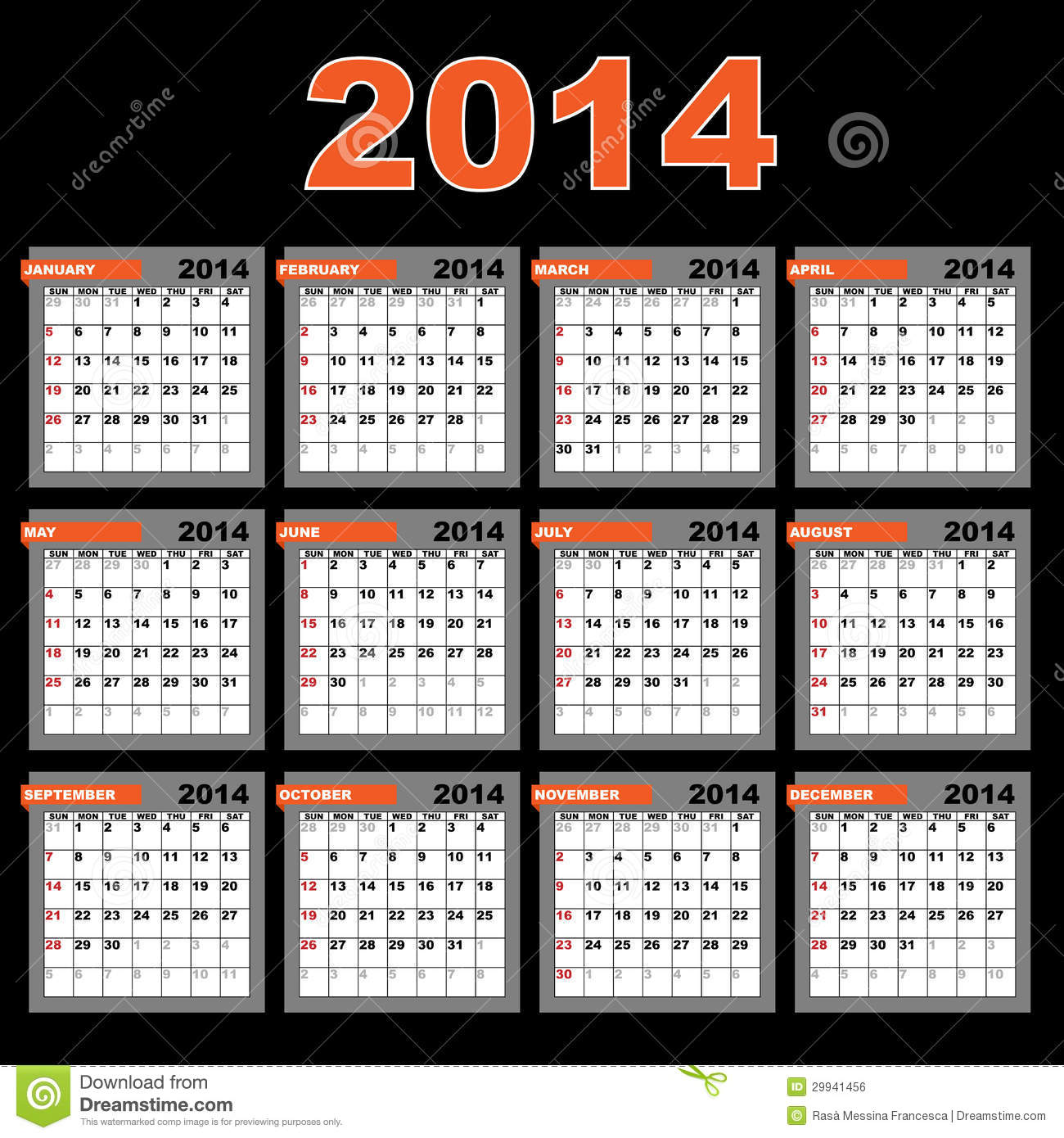 August 2014 Cpo Offers Table Jpg: 2014 Calendar Royalty Free Stock Image