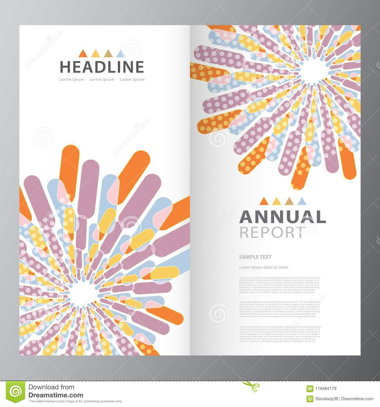 annual business colorful report template stock vector illustration