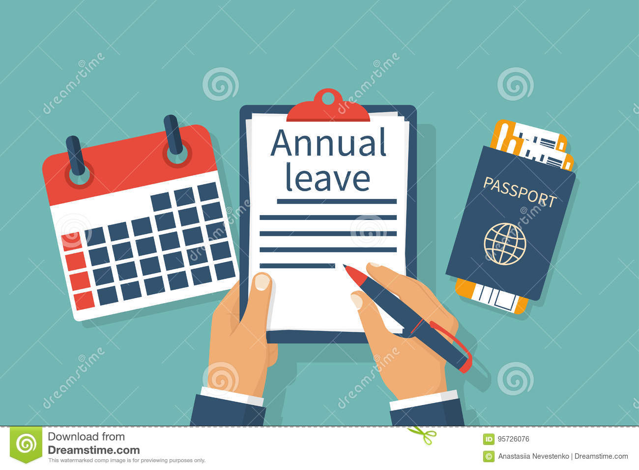 Annual leave vector stock vector. Illustration of ...