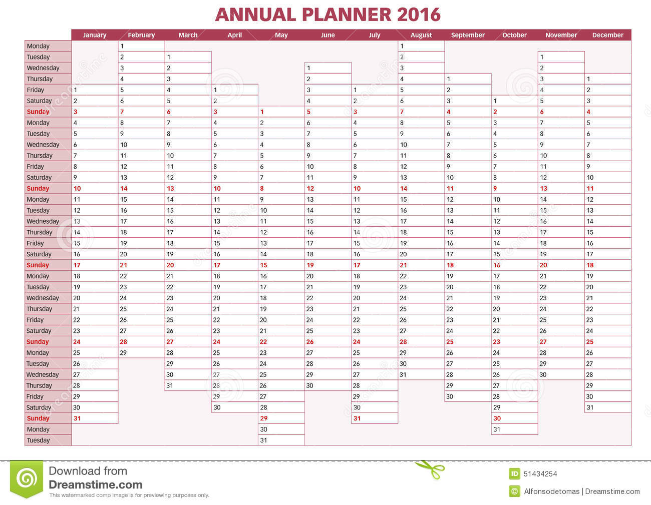 Annual Planner English 2016 Stock Vector Image 51434254