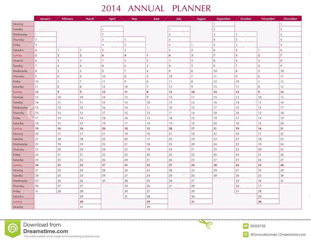 2014 Annual Planner in english. 2014 Wall Calendar.