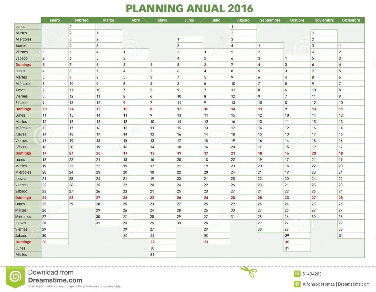 2016 Annual planner. Spanish calendar for year 2016. Week starts on ...