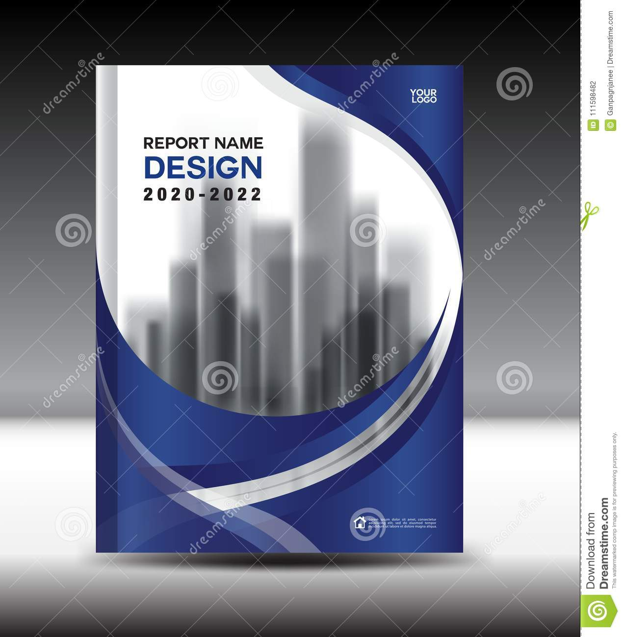 Annual report brochure flyer template, Blue cover design, book cover