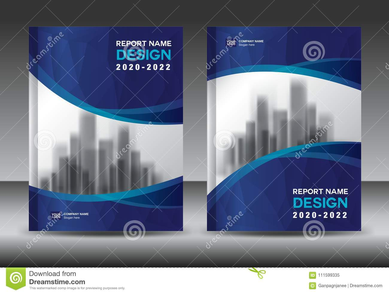 Annual report brochure flyer template, Blue cover design, business advertisement, magazine ads, book cover