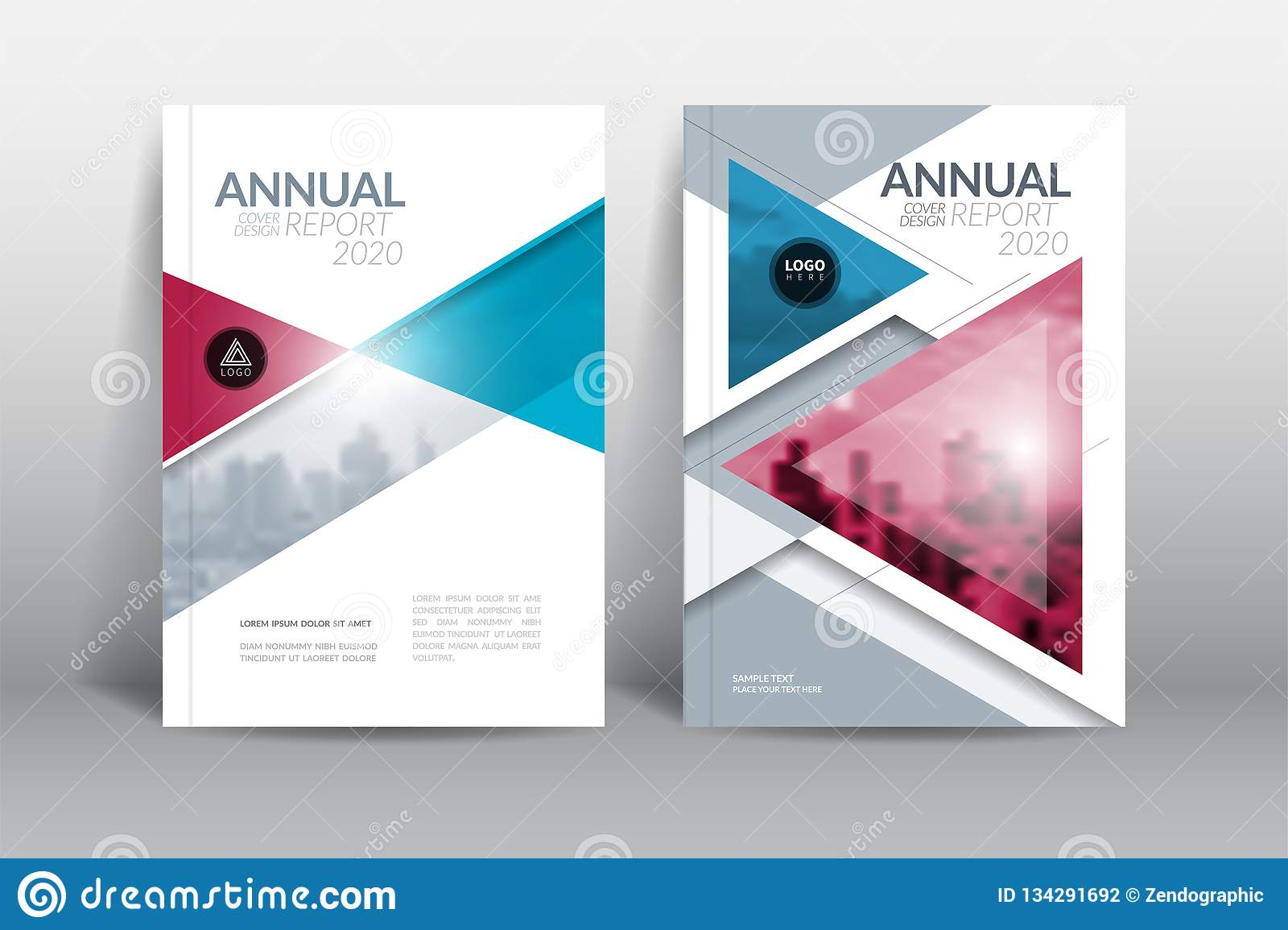 Annual report cover brochure flyer design template with abstract triangle vector.