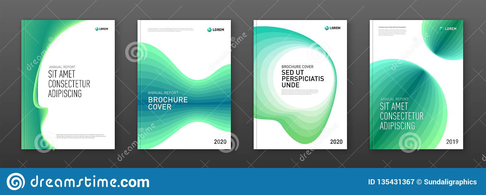 Annual report cover design templates set for business