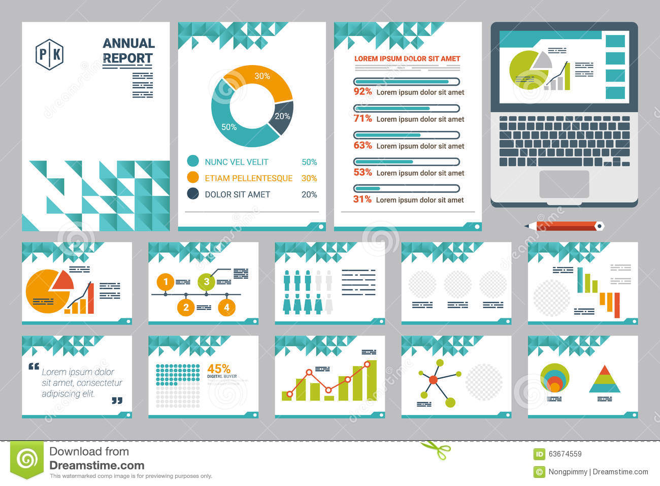 Annual Report Cover Page Templates Annual Report Cover Sheet Presentation  Template Illustration Flat Design Icons Elements  Annual Report Cover Page Template