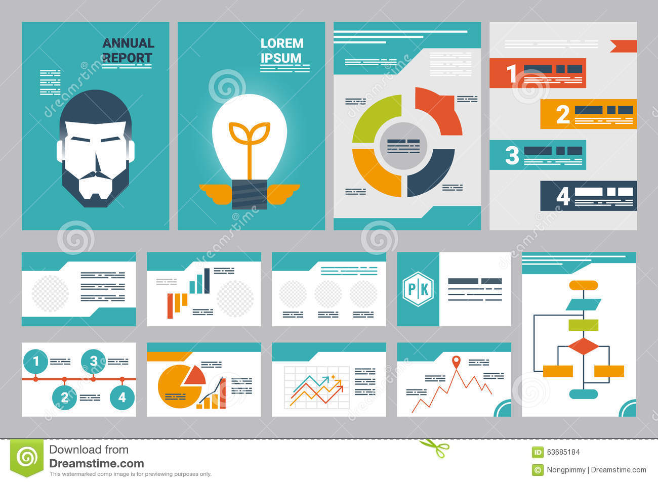 annual report cover a4 sheet and presentation template stock, Presentation templates