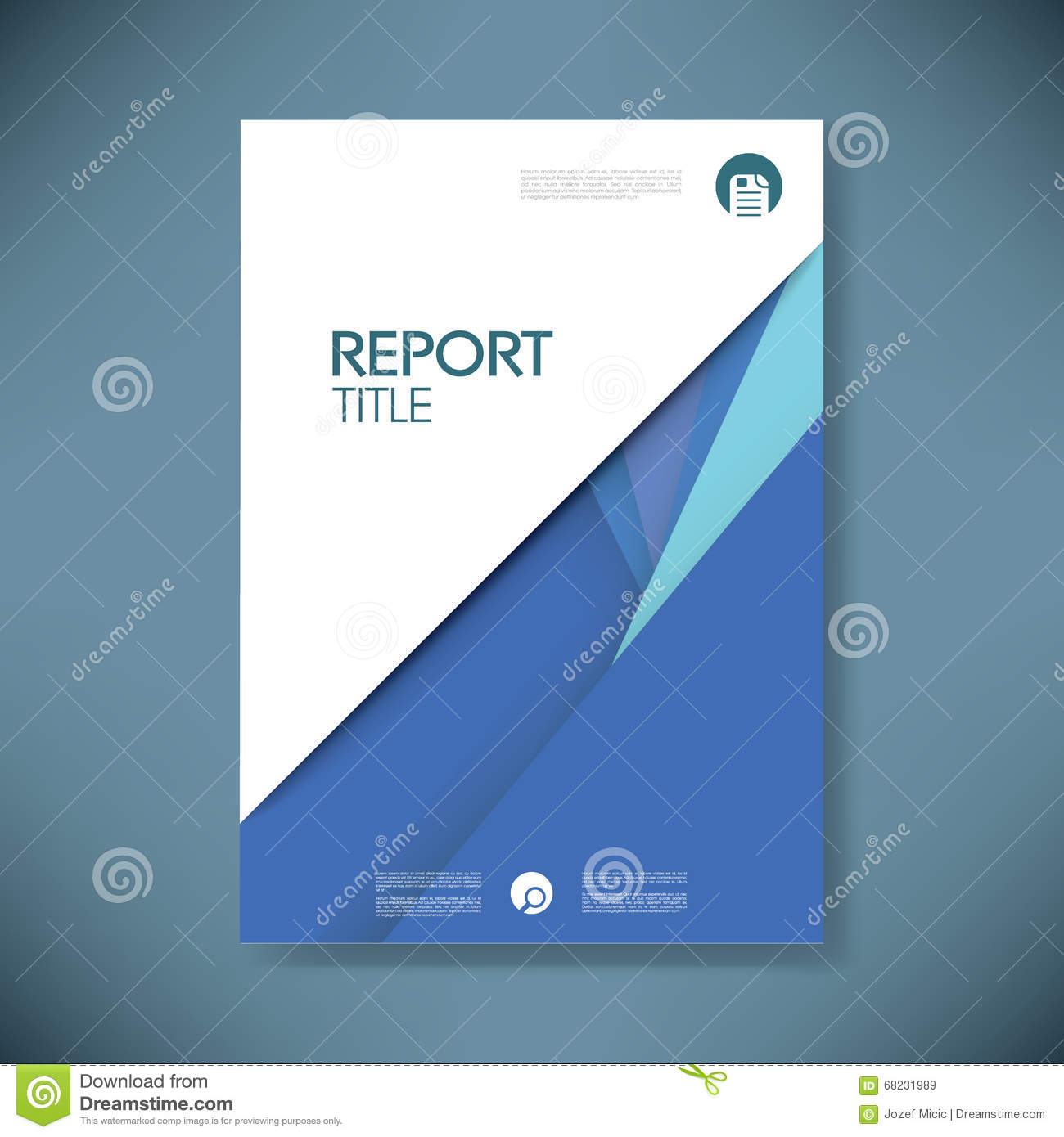 Annual Report Cover Template On Material Design Style Vector ...