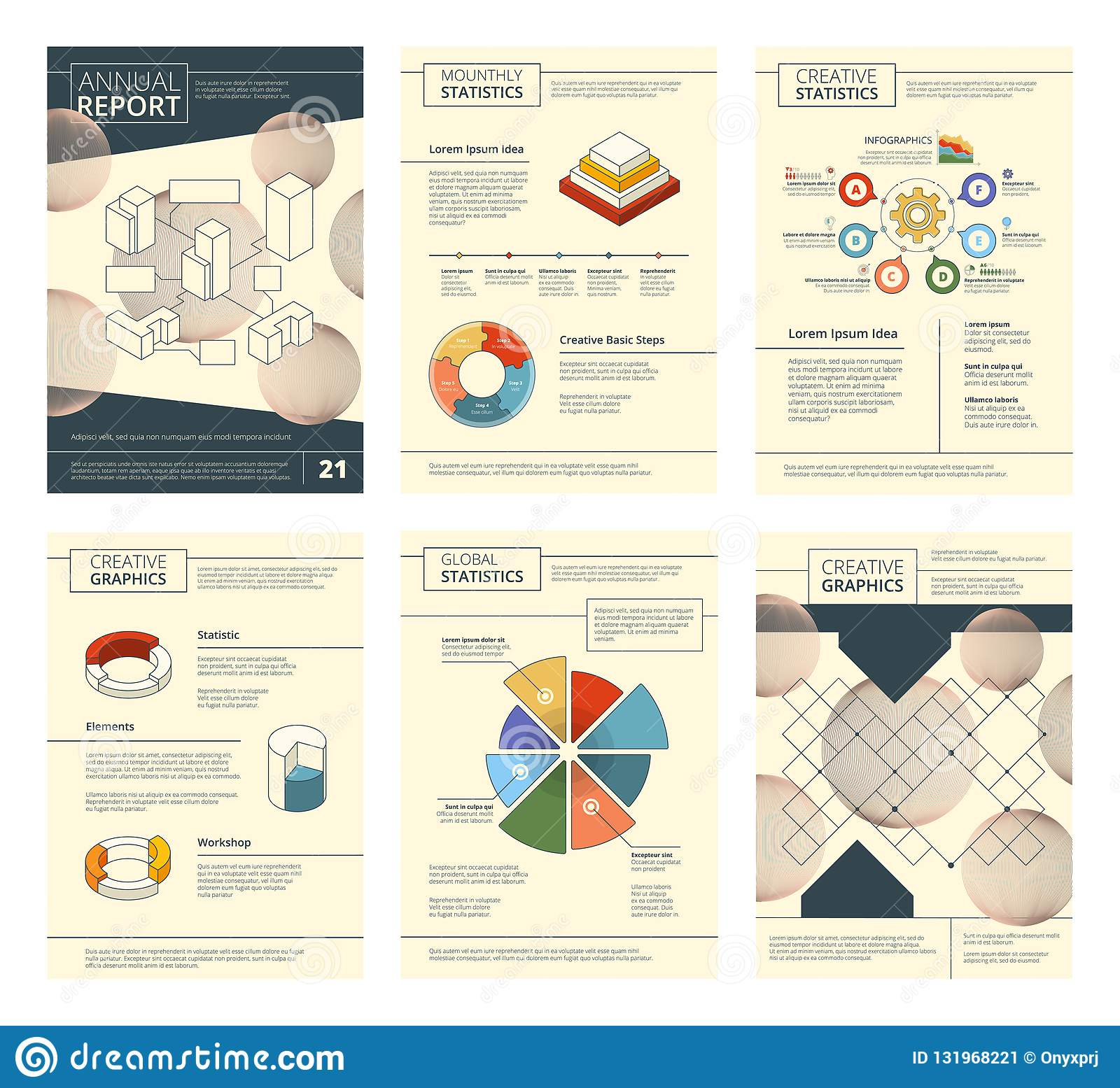 Annual report template. Report business company presentation banner flyers pages booklet vector design