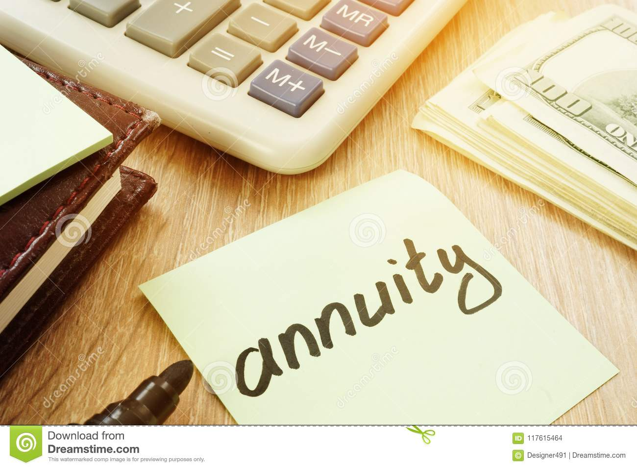 annuity sign and calculator money for savings stock photo image