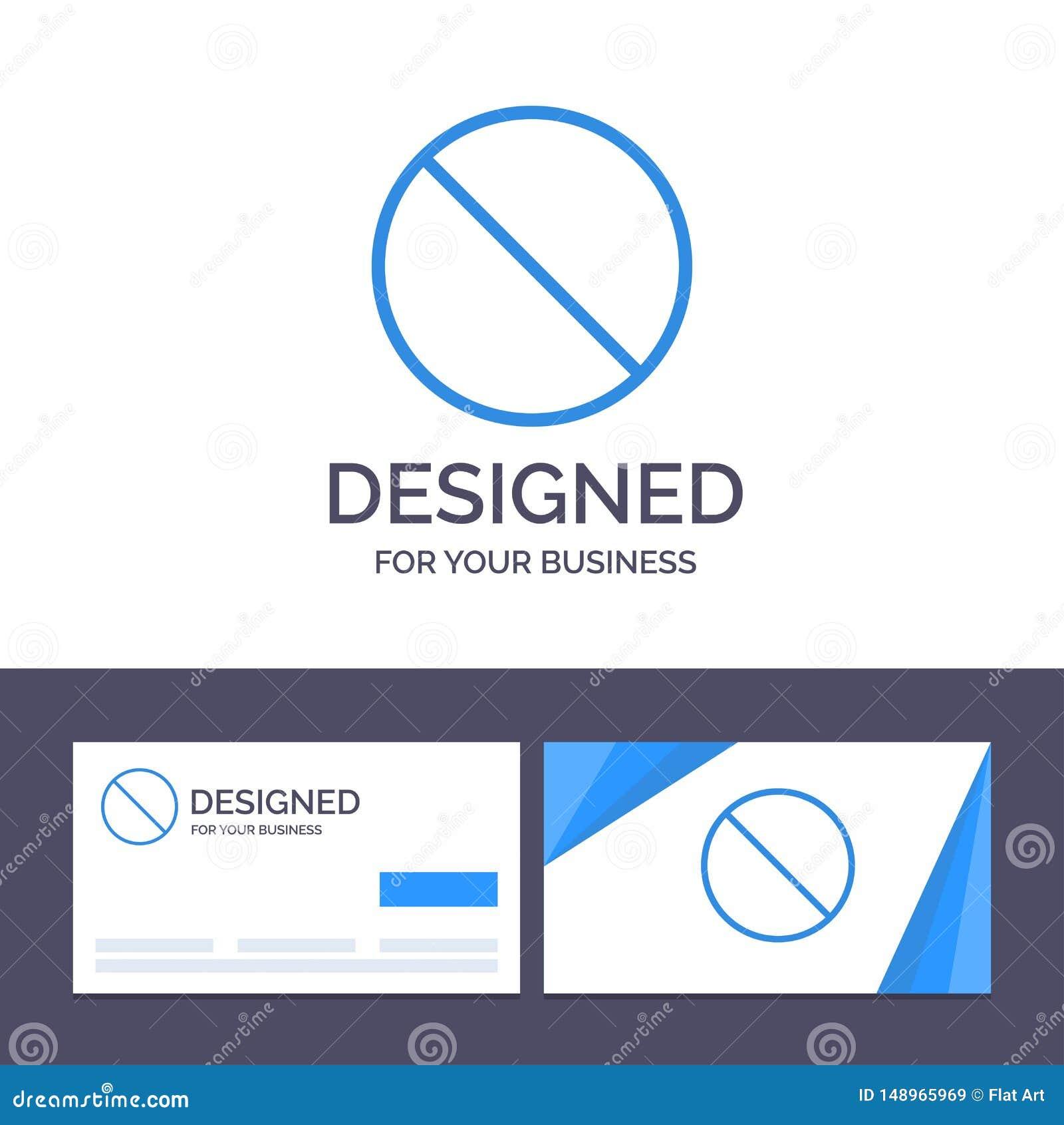 Annullering för idérik mall för affärskort som och logoförbjudas, inget, förbjuden vektorillustration