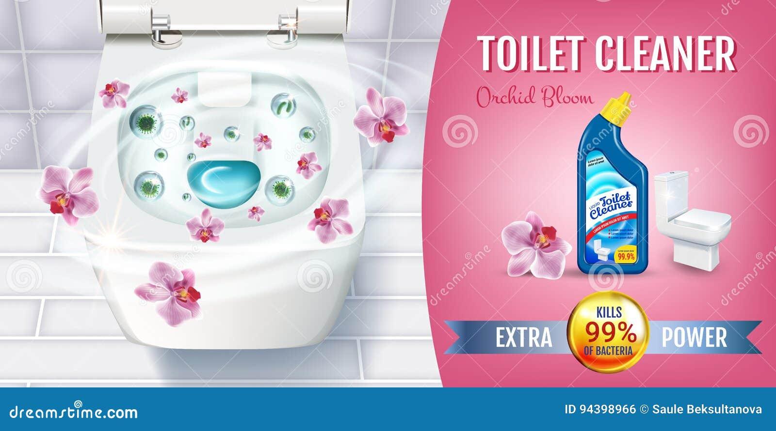 Annunci del gel del pulitore della toilette di fragranza dell orchidea Vector l illustrazione realistica con la vista superiore d