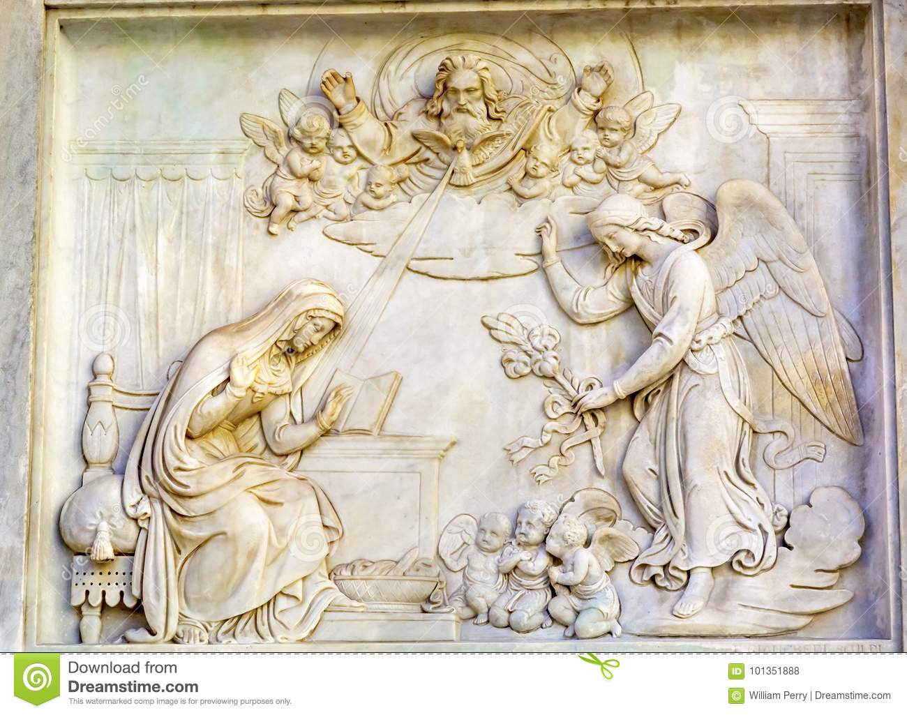 Annunciation Angel Virgin Mary Statue Immaculate Conception Column Rome Italy