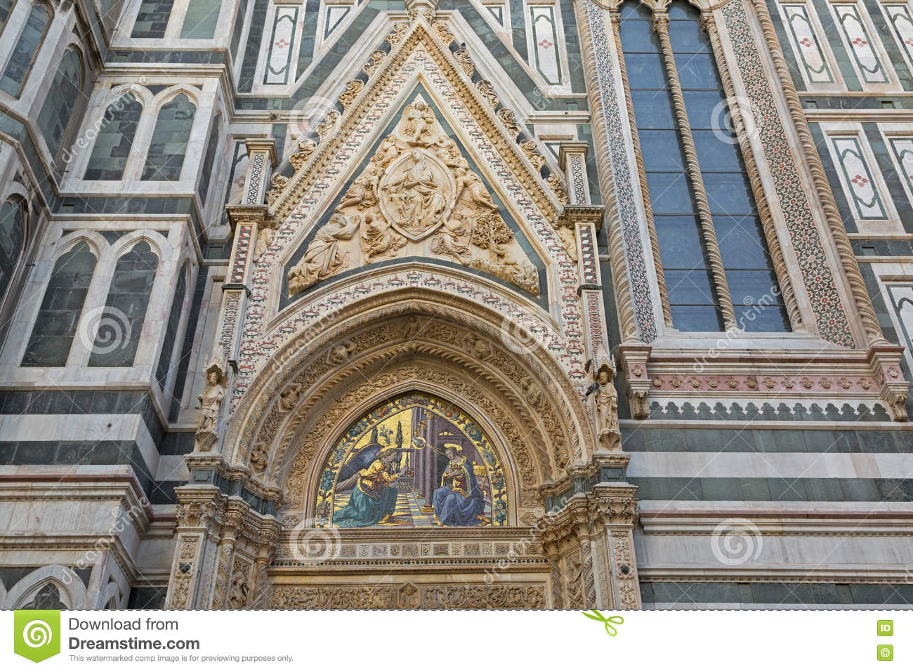 Annunciation mosaic on Almond doors of Florence Cathedral, Italy