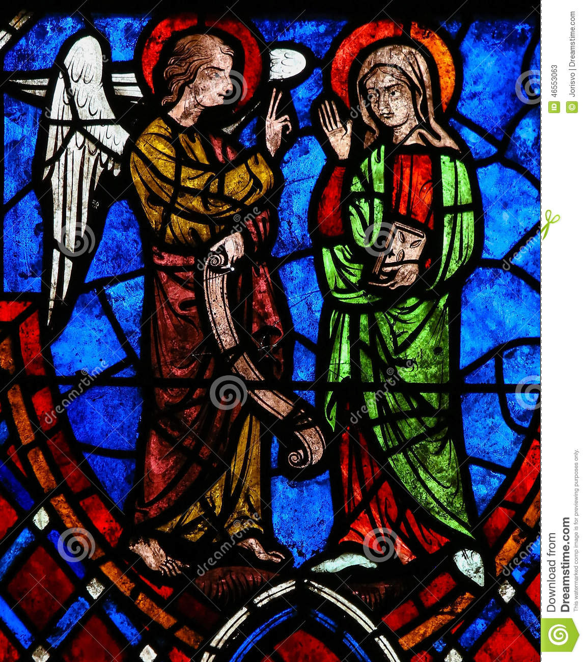 the annunciation stained glass in cathedral of tours