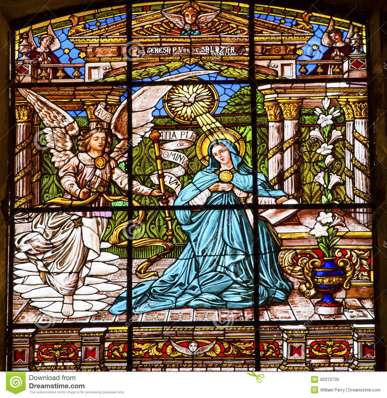 annunciation stained glass old basilica guadalupw mexico