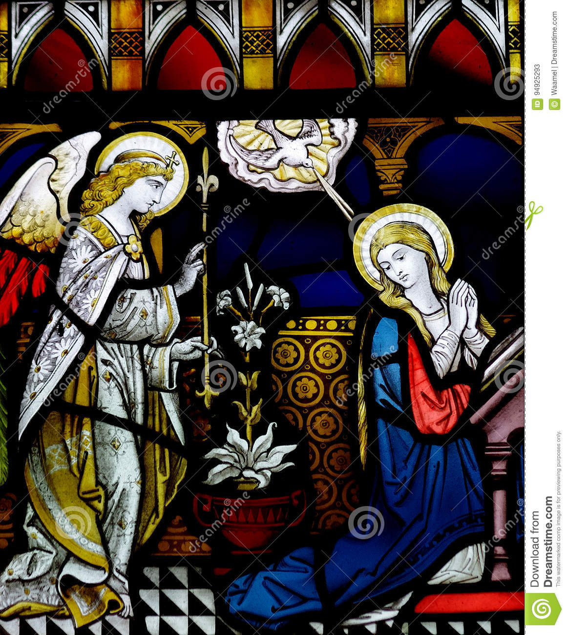 annunciation in stained glass editorial stock photo