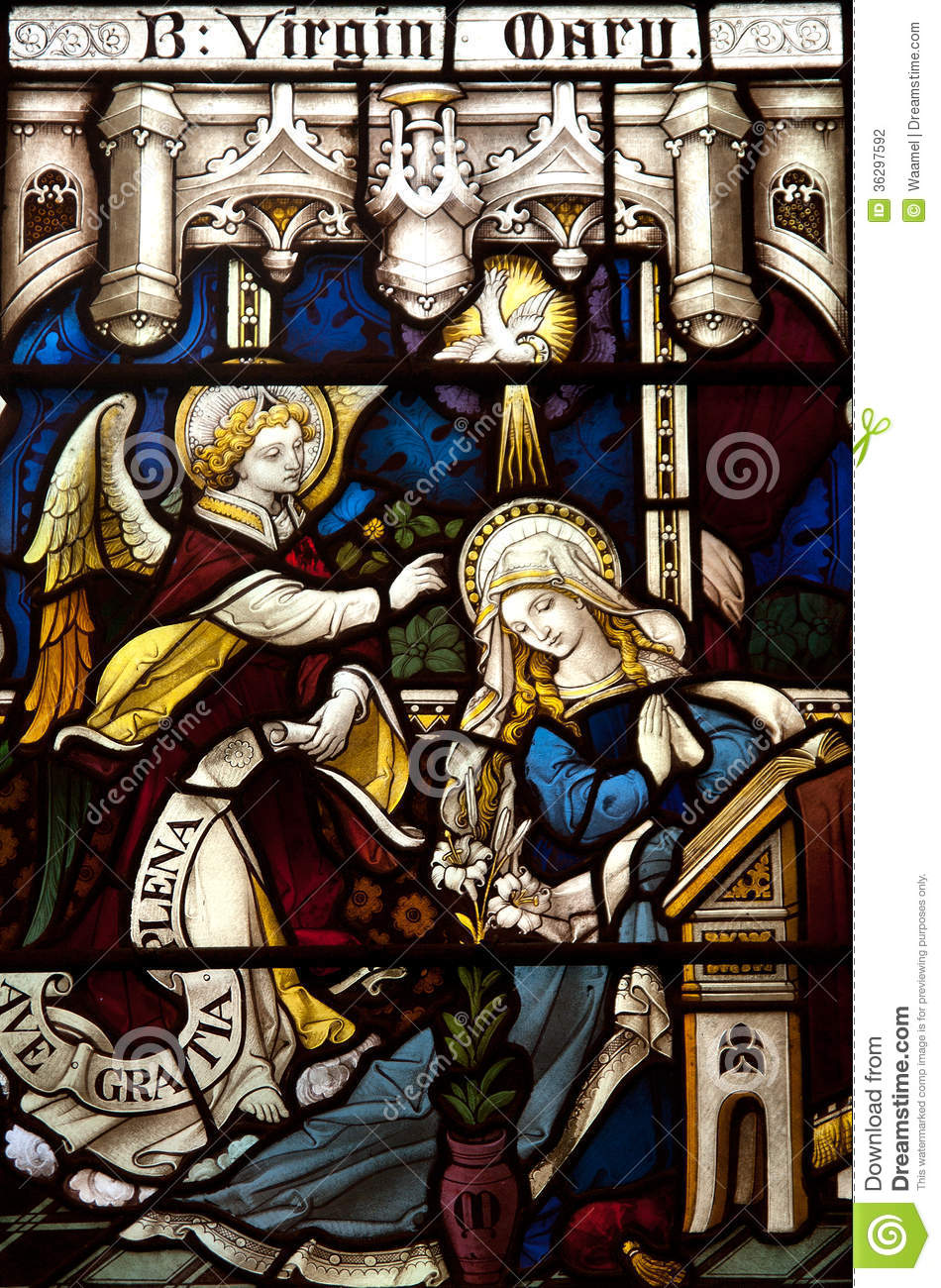 annunciation in stained glass stock photo image 36297592