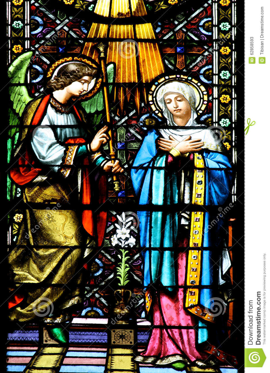 the annunciationstained glass window stock image image