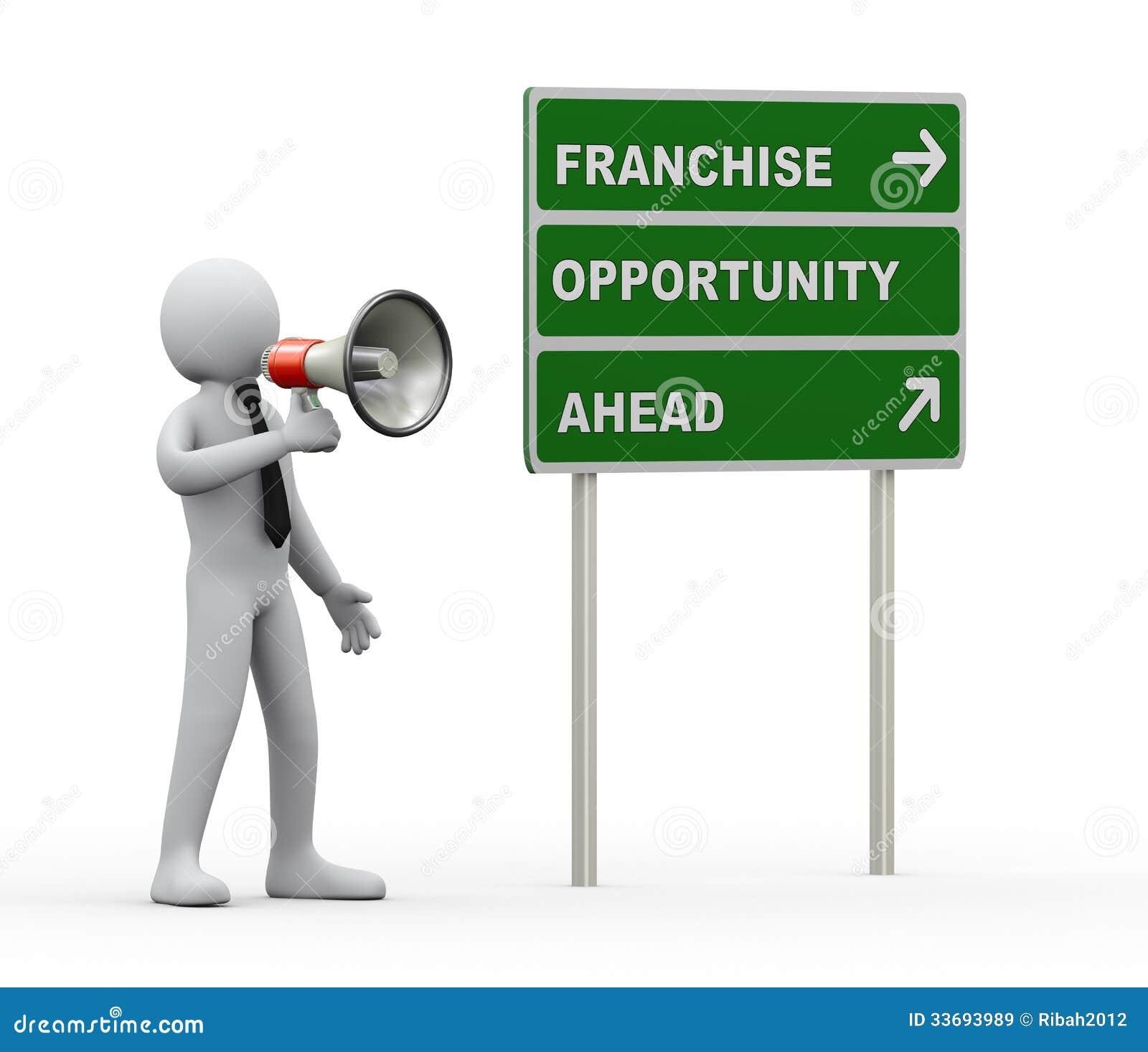 Annuncio del megafono di opportunità di concessione dell uomo d affari 3d