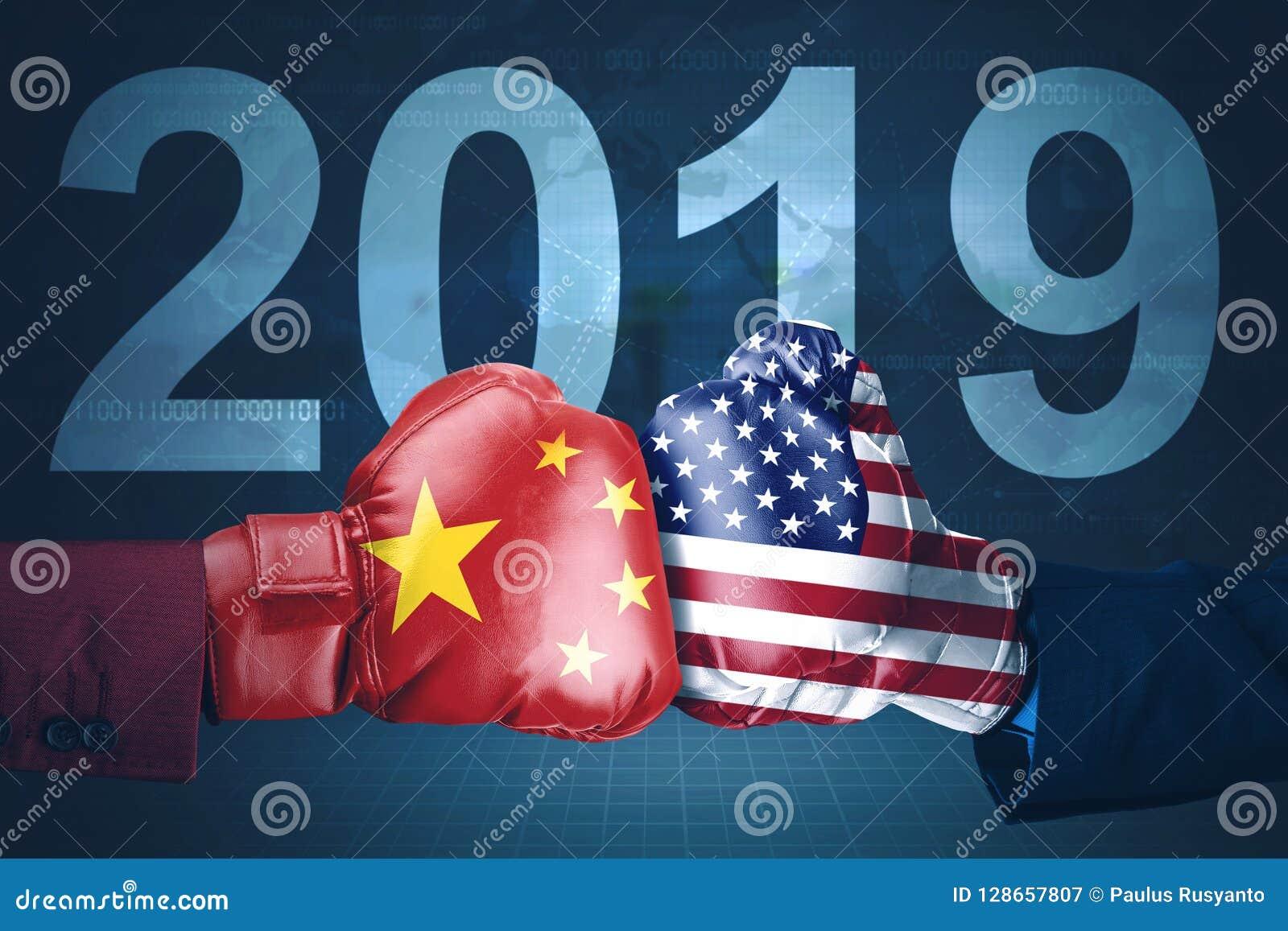 Ano da guerra comercial de América e de China em 2019