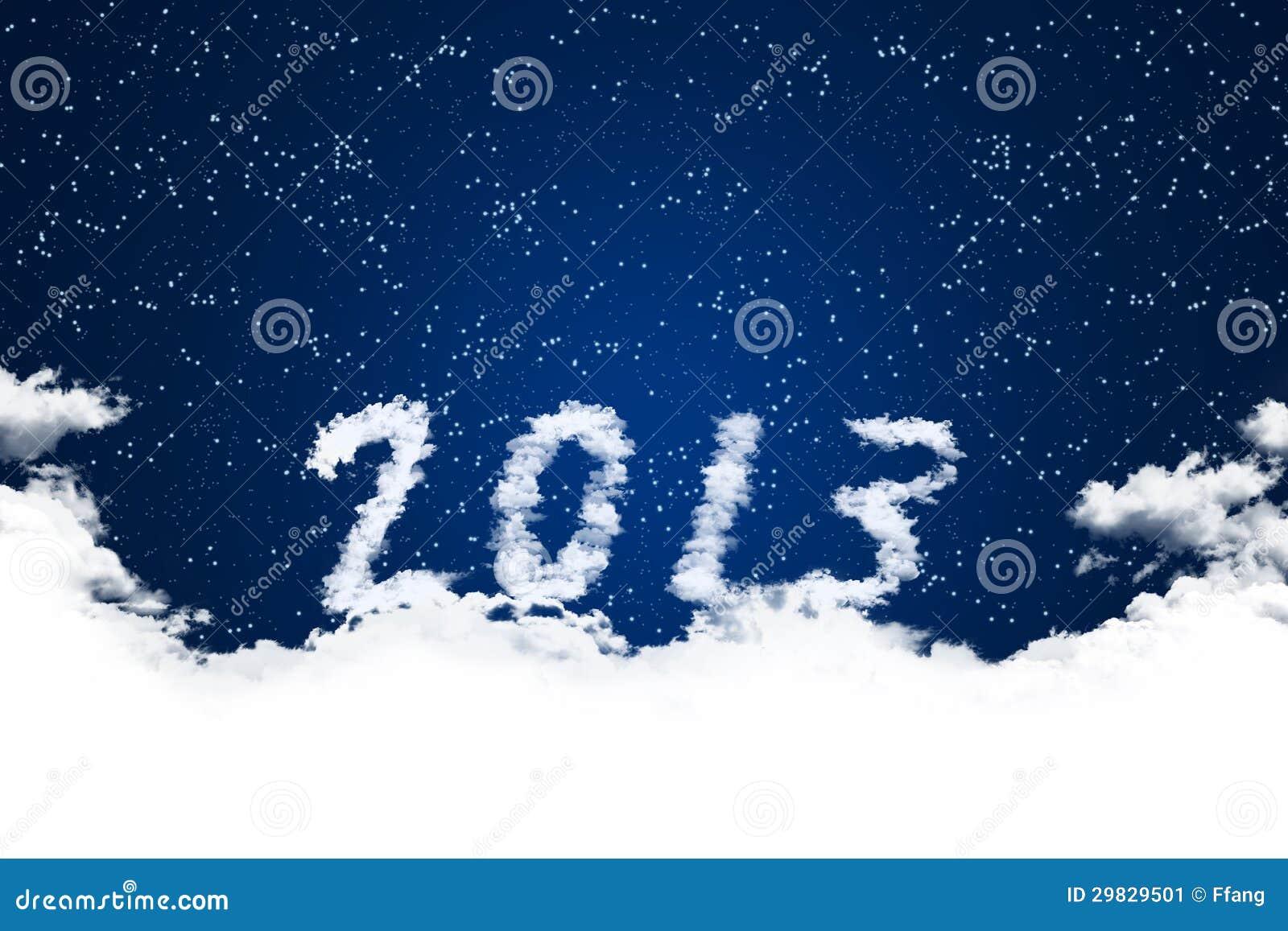 Ano 2013 no fundo das nuvens.