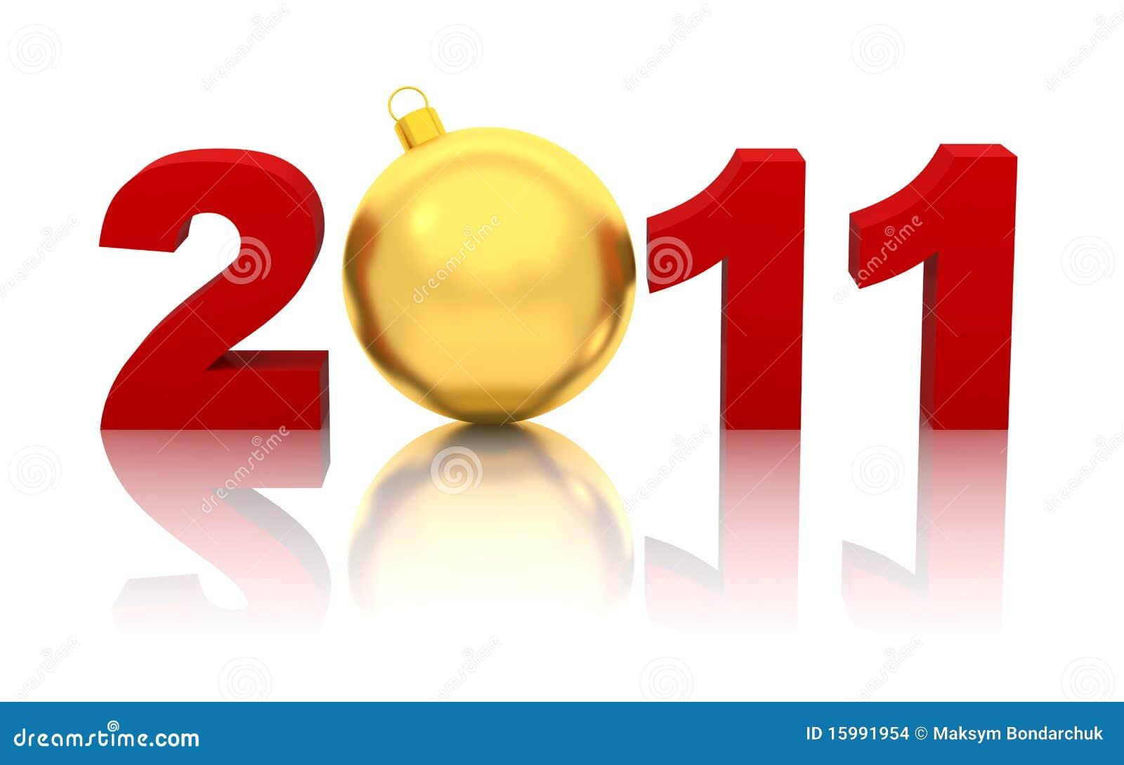 Ano novo 2011 com a esfera dourada do Natal isolada