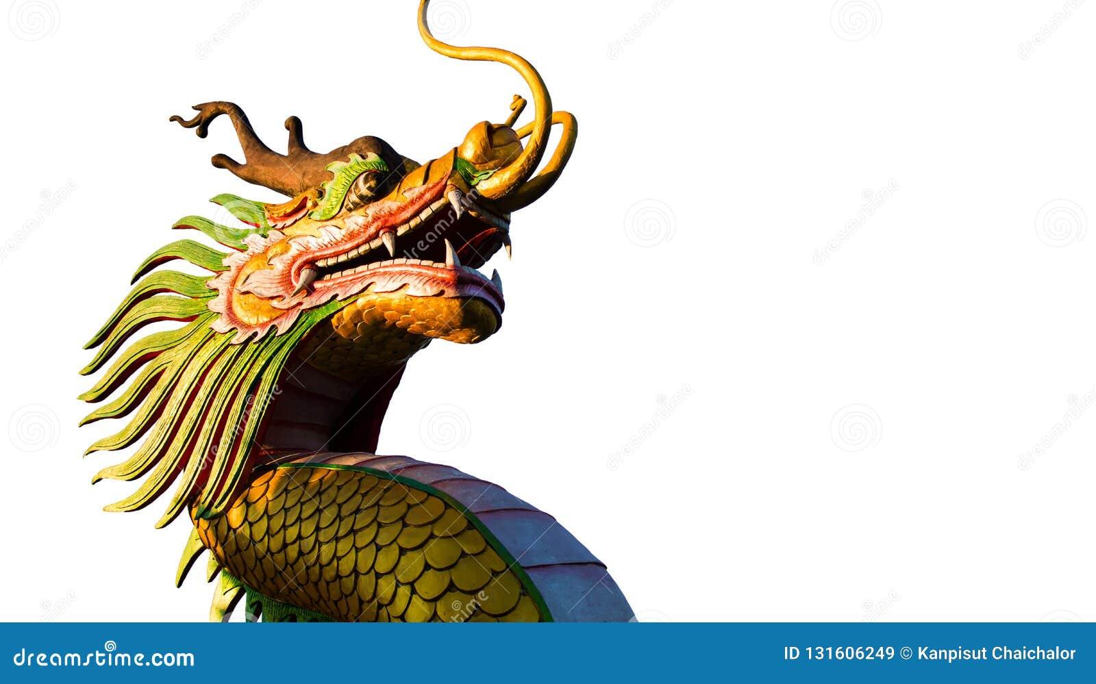 Ano novo chinês Dragon Decoration no fundo branco Projetos chineses da escultura Cabeça do dragão Ano novo feliz Dragon Decoratio
