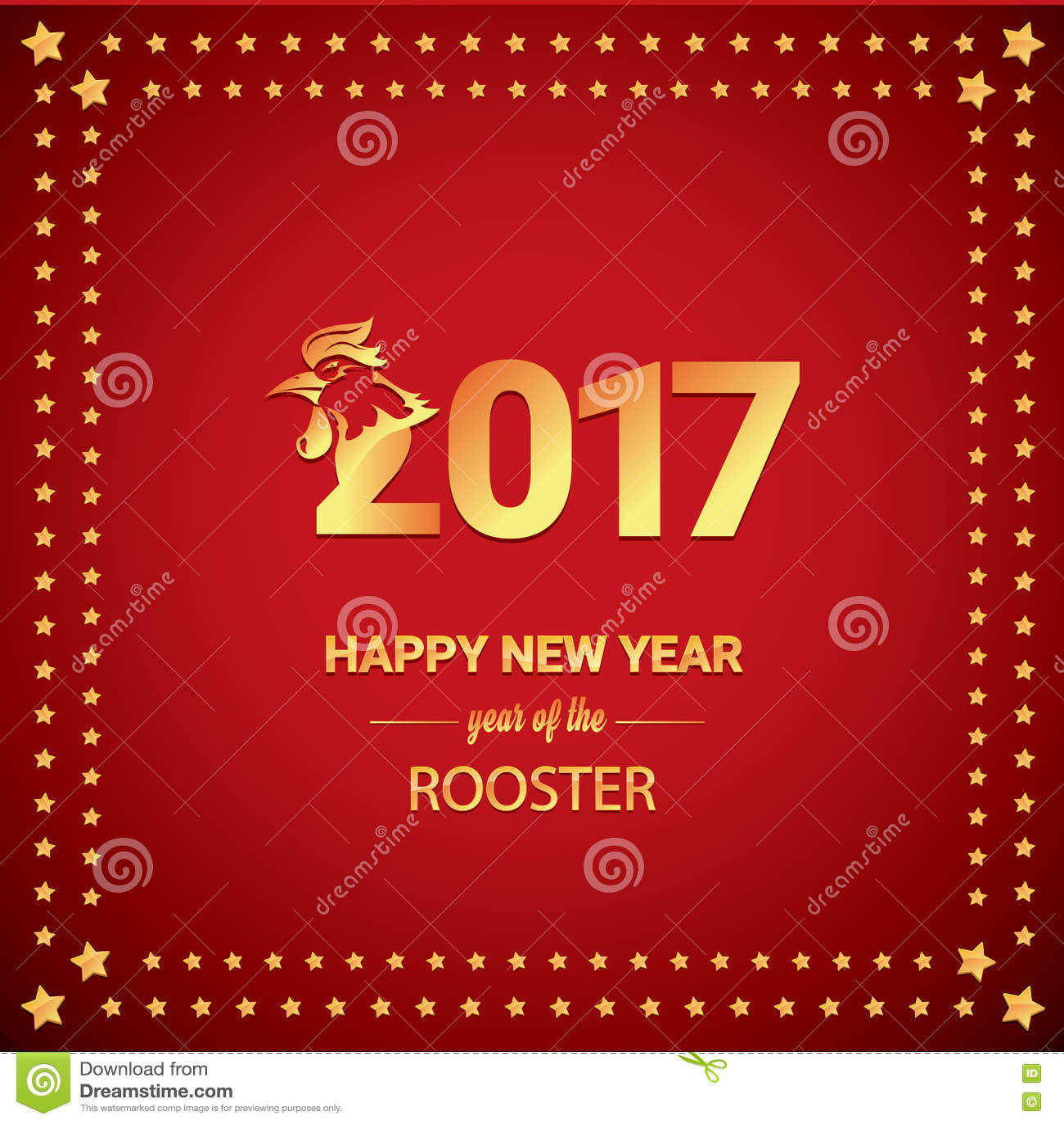 Ano novo chinês feliz 2017 com galo dourado
