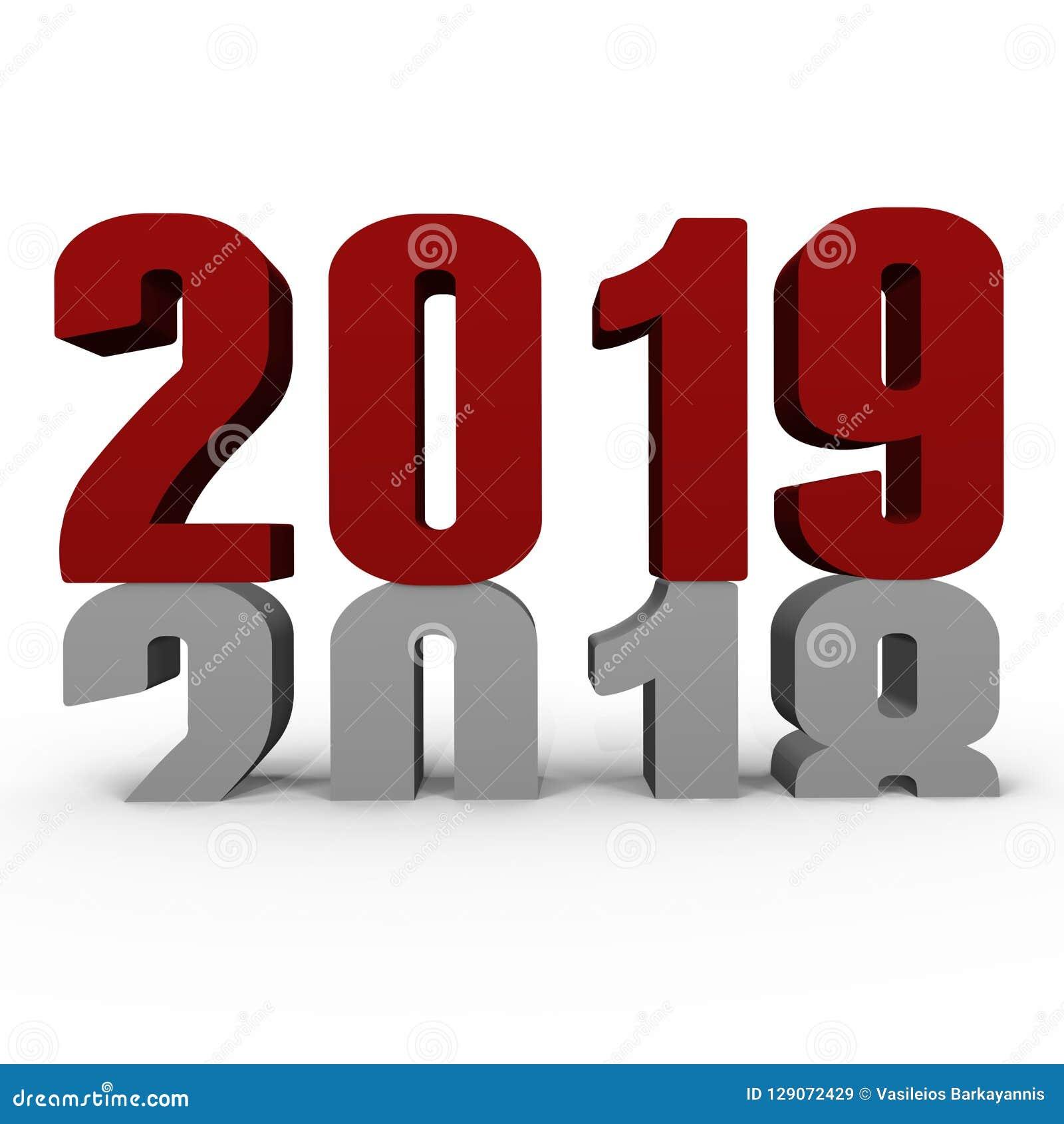 Ano novo 2019 2018 de empurrão para baixo - uma imagem 3d