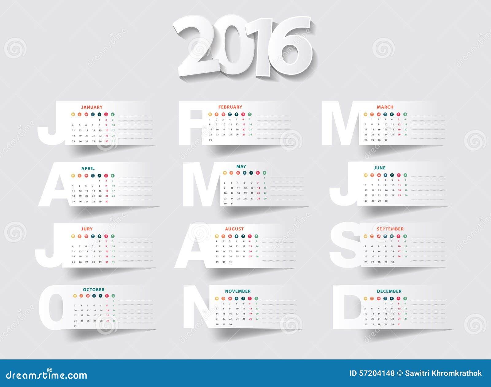 Ano novo do calendário 2016 do vetor