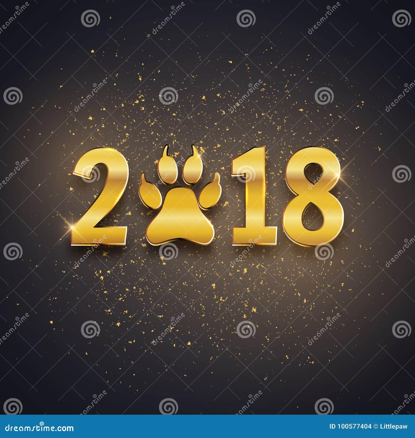 Ano novo do cartão do feriado do cão com pegada da pata, te do ouro