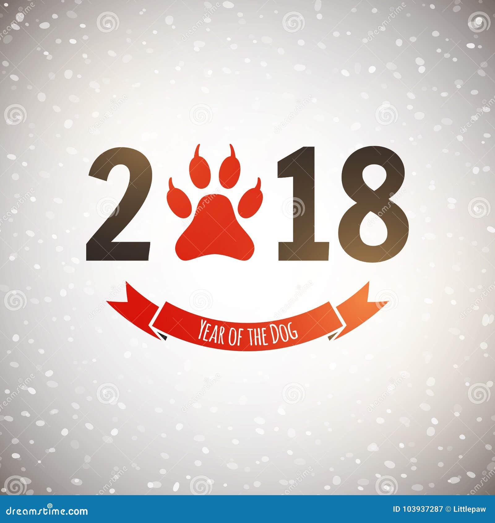 Ano novo do cartão do feriado do cão com pegada da pata, vetor